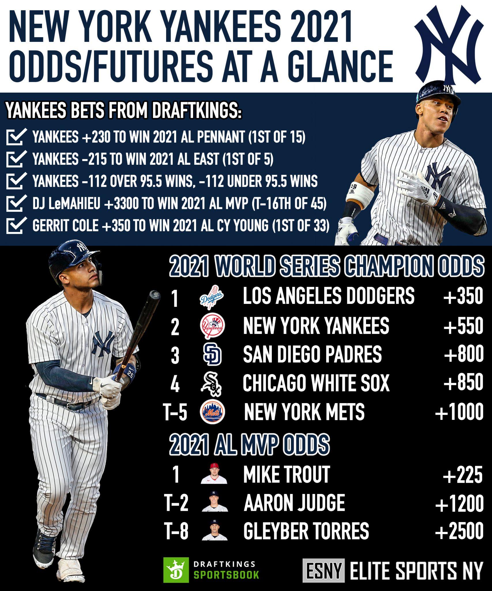 ESNY, New York Yankees, DraftKings Sportsbook, MLB Futures, 2021 Odds